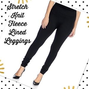 Pants - XS/S Stretch Knit Fleece Lined Black Leggings